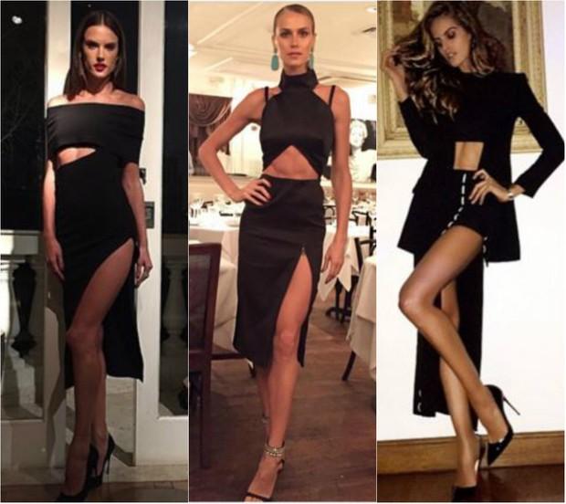 Alessandra Ambrosio, Renata Kuert e Izabel Goulart apostam em recortes e assimetria para deixar o visual sexy sem ser vulgar (Foto: Reprodução do Instagram)