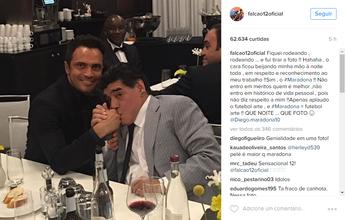 """""""Em respeito e reconhecimento"""", diz Falcão sobre reverência de Maradona"""