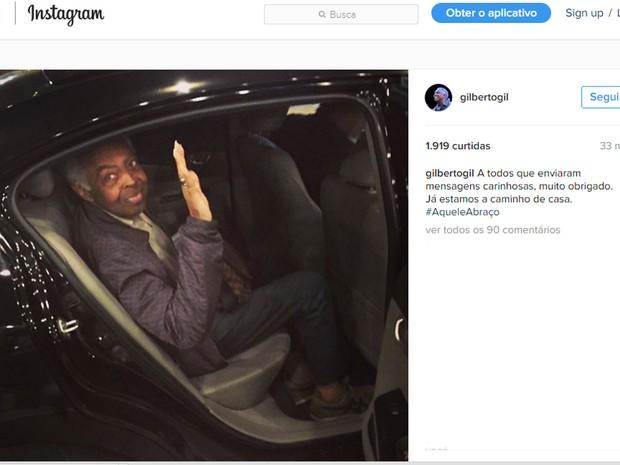 Gilberto Gil agradeceu aos fãs e postou foto deixando o hospital (Foto: Reprodução/Instagram/Gilberto Gil)