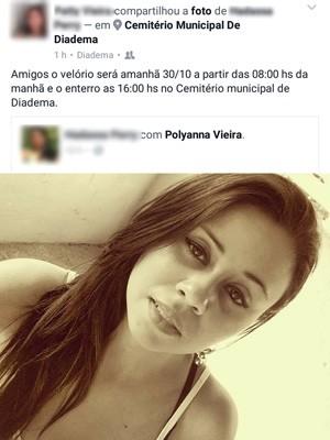 Poluanna Vieira foi morta a tiros na sexta-feira (28) em Diadema (Foto: Reprodução/Facebook)