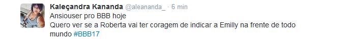 tweet roberta vota em emilly (Foto: Twitter: @aleananda_)