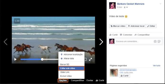 Clique nas opções para editar o vídeo no Facebook (Foto: Reprodução/Barbara Mannara)