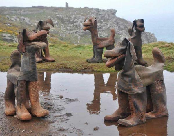 Cães criados com botas usadas pelo artista inglês David Kemp  (Foto: Divulgação )