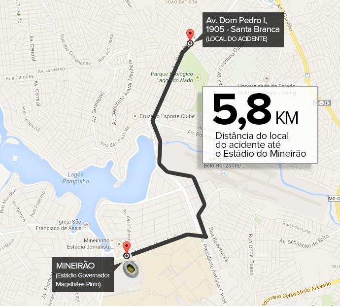 Info DISTÂNCIA do Acidente em BH até o Estádio do Mineirão 2 (Foto: Infoesporte)