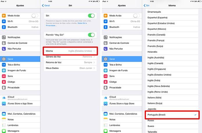 Siri traz lista de idiomas suportados como o Português do Brasil (Foto: Reprodução/Elson de Souza)