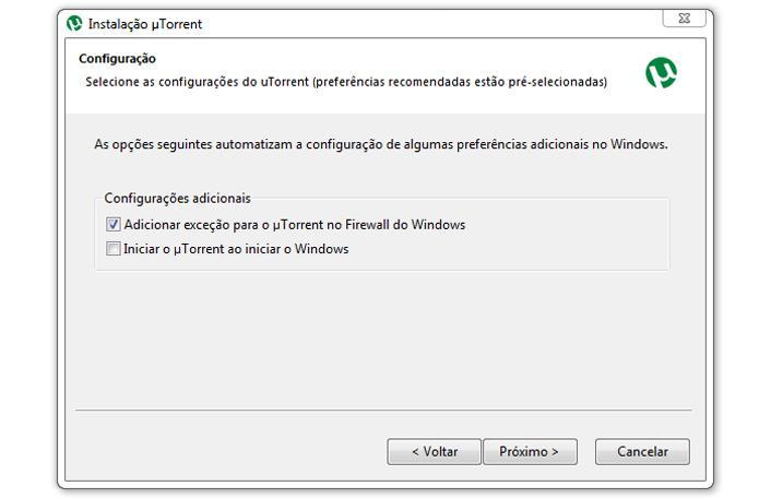Opções de instalação do uTorrent (Foto: Reprodução/Ramon Cardoso)