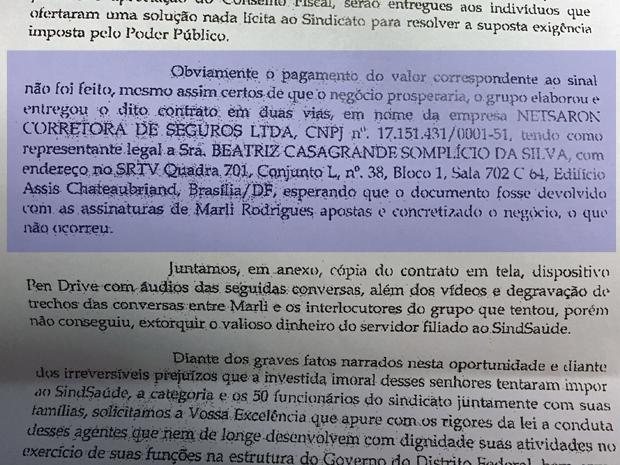 Trecho de denúncia apresentada por Marli Rodrigues ao GDF, em que diz como dinheiro de propina deveria ser depositado (Foto: Reprodução)
