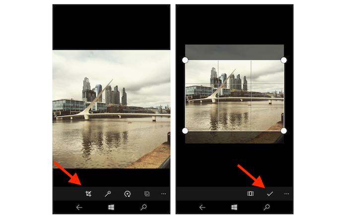 Cortando uma imagem com a ferramenta de edição de fotos do Windows 10 Mobile (Foto: Reprodução/Marvin Costa)