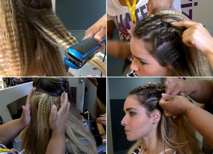 Confira o passo a passo dos novos cabelos de Tina em 'A Regra do Jogo' (Foto: Vídeo Show / TV Globo)