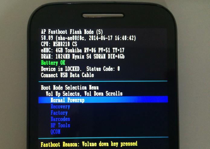 Menu de inicialização avançada do Android (Foto: Reprodução/Helito Bijora)