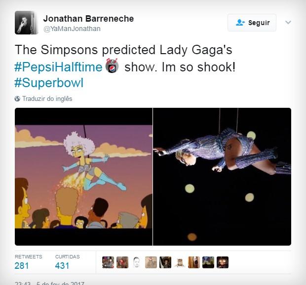 Perfomance da Lady Gaga prevista pelos Simpsons (Foto: Reprodução/Twitter)