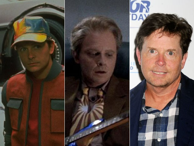 A partir da esquerda: Michael J. Fox em 'De volta para o futuro parte II', primeiro jovem e depois já idoso, e o ator em foto de 11 setembro de 2015 (Foto: Divulgação Divulgação e Dennis Van Tine/Geisler-Fotopress/Picture-Alliance/AFP)