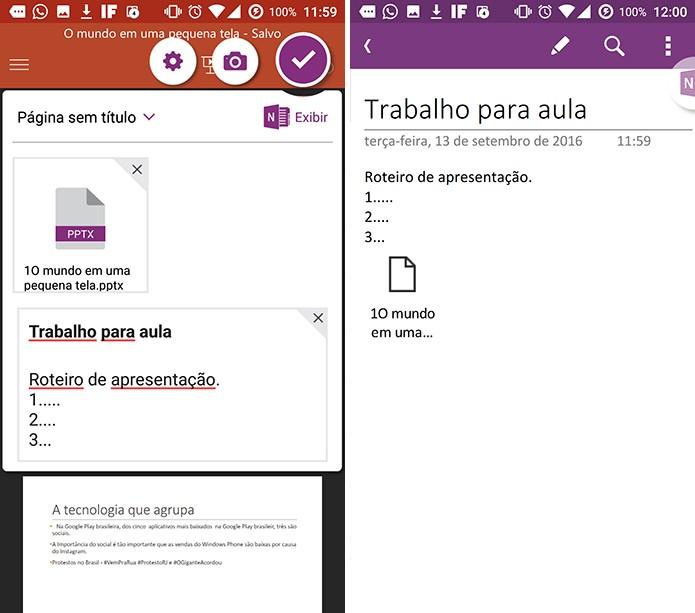 Usuário pode salvar nota para depois ou continuar editando no OneNote (Foto: Reprodução/Elson de Souza)