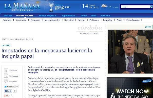Acusados de crimes da ditadura aparecem em Tribunal com cores do Vaicano (Foto: Reprodução/ La Manana de Córdoba)