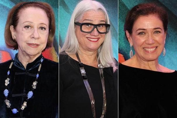 Fernanda Montenegro, Vera Holtz e Lilia Cabral ao chegar à festa de lançamento de Saramandaia (Foto: Globo)