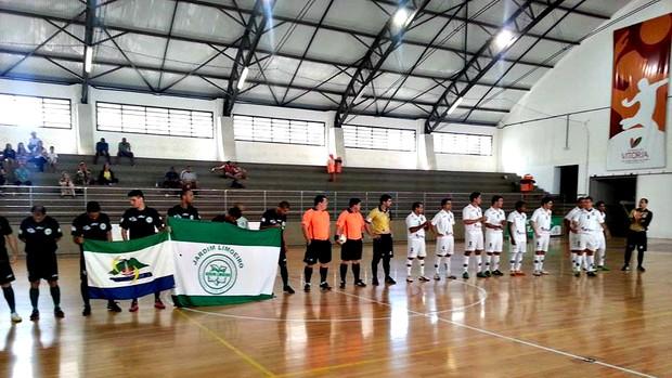 Rio Branco-ES e Jardim Limoeiro empataram por 5 a 5, no Capixaba de Futsal (Foto: Divulgação/Rio Branco Futsal)