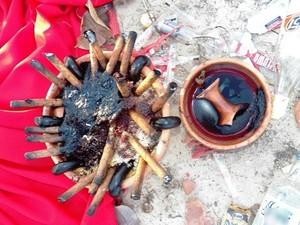 Bebida, Charutos e sangue foram encontrados por moradores (Foto: Barras Virtual)