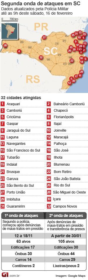 mapa de ataques em santa catarina 16 de fevereiro (Foto: Arte/G1)