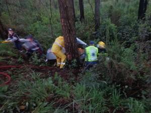 Quando bombeiros chegaram, grávida ainda estava viva (Foto: Corpo de Bombeiros/Divulgação)