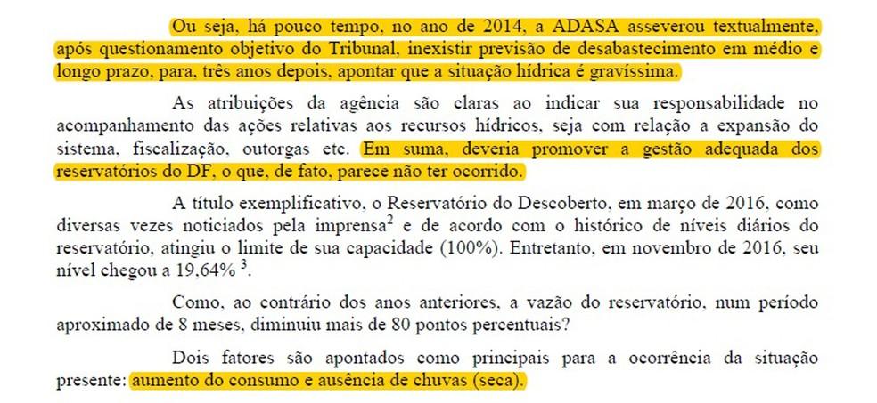 Relatório do Ministério Público de Contas que aponta má gestão dos recursos hídricos (Foto: Reprodução)