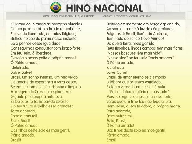 Letra do Hino Nacional Brasileiro (Foto: Parker TV)