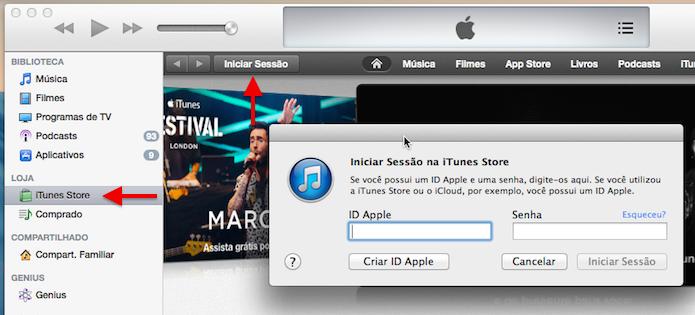 Acesse sua conta na iTunes Store (Foto: Reprodução/Helito Bijora)