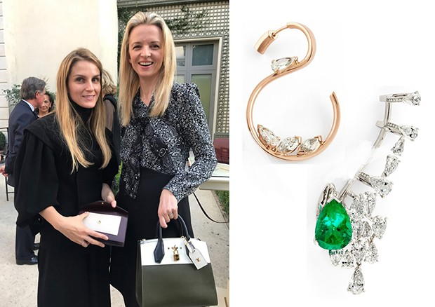 Left: Gaia Repossi with Delphine Arnault of LVMH; Middle: diamonds placed on a rose gold 'thread' from the Studio collection; Right: an ear cuff with pear and oval shaped diamonds set with a striking emerald from the High Jewellery collection. (Foto: REPOSSI)