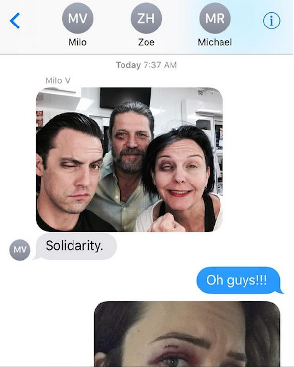 A foto compartilhada por Mandy Moore mostrando seus colegas de trabalho com maquiagens semelhantes aos seus ferimentos (Foto: Instagram)