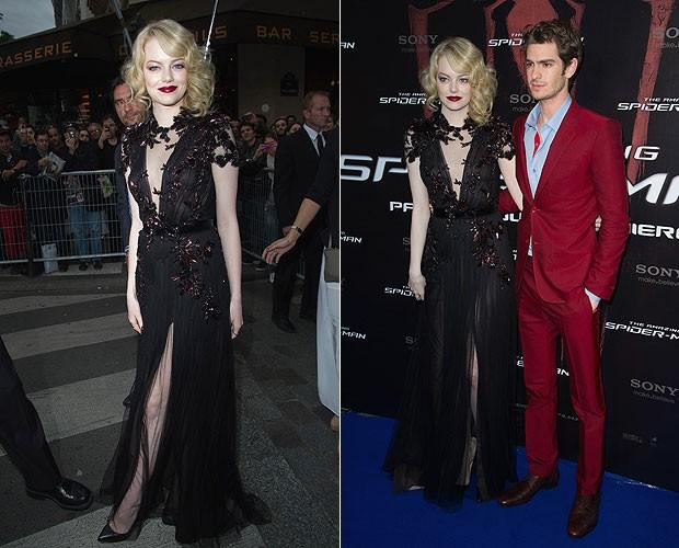 Emma Stone e Andrew Garfield em Paris, França (Foto: Getty Images)
