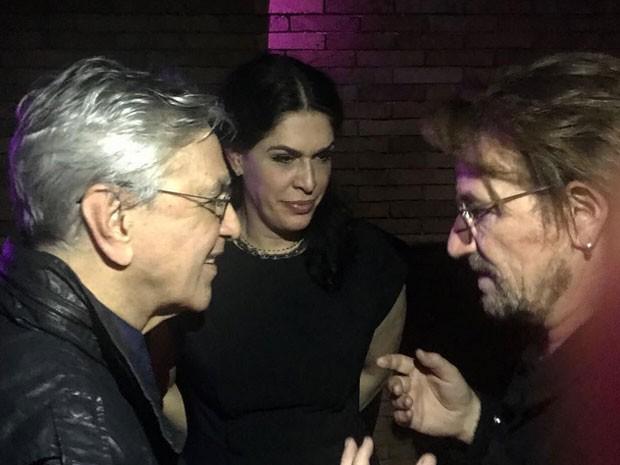 Caetano Veloso, Paula Lavigne e Bono (Foto: Reprodução)