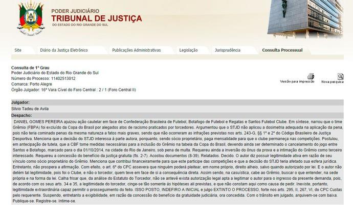 ação grêmio stjd racismo exclusão copa do brasil (Foto: Reprodução)