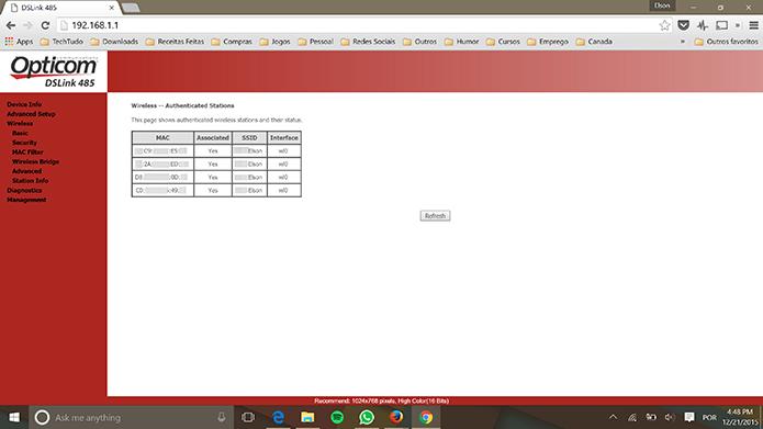 Usuário tem lista de dispositivos conectados à rede para comparar endereço de MAC (Foto: Reprodução/Elson de Souza)
