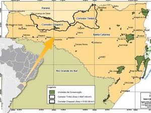 Mapa mostra áreas de corredores ecológicos (Foto: Fatma/Divulgação)