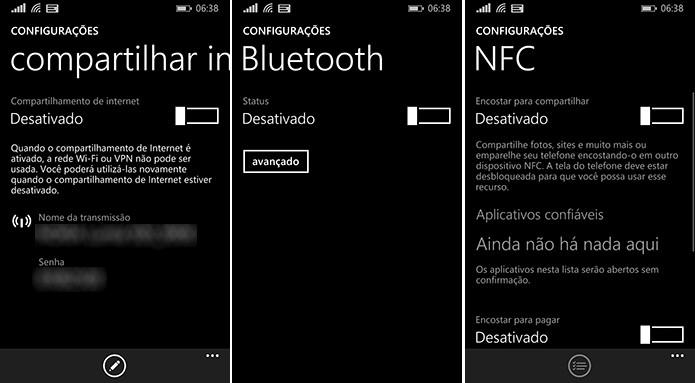 Windows Phone pode gastar mais energia se Compartilhar Internet, Bluetooth e NFC estiverem ativados (Foto: Reprodução/Elson de Souza)