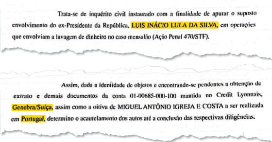 Inquérito contra Lula é de 2013 (Foto: Reprodução)