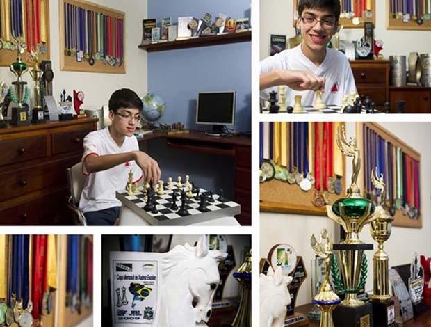 Caíque colecina medalhas e troféus em Itaúna (Foto: Mariana Neto / divulgação)