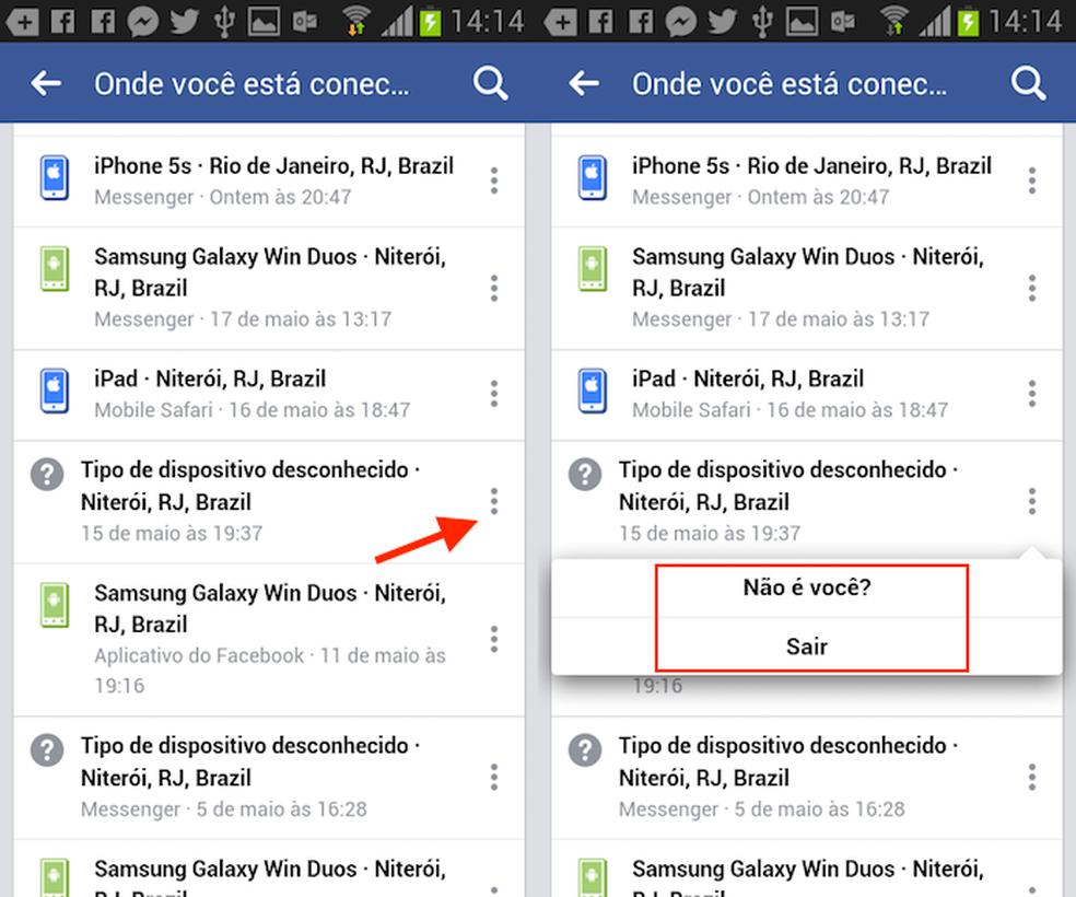 Opções de segurança para um dispositivo conectado à sua conta do Facebook (Foto: Reprodução/Marvin Costa)