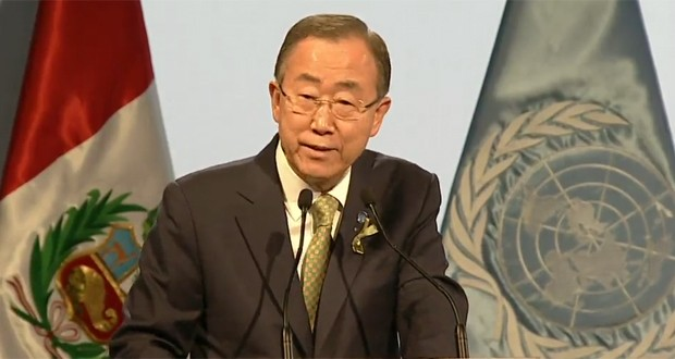 O secretário-geral da ONU, Ban Ki-moon, discursa na COP 20, em Lima (Foto: Reprodução/UNFCCC)