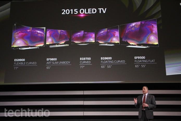 Modelos de TV OLED da LG  (Foto: Fabrício Vitorino/TechTudo)