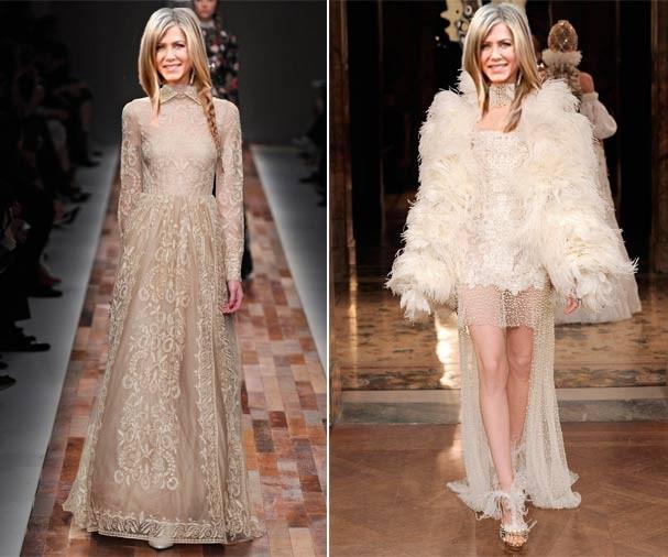 """Versões """"noiva moderna"""" de Valentino bege e McQueen cheio de plumas para Jen inovar (Foto: Getty Images/Montagem)"""