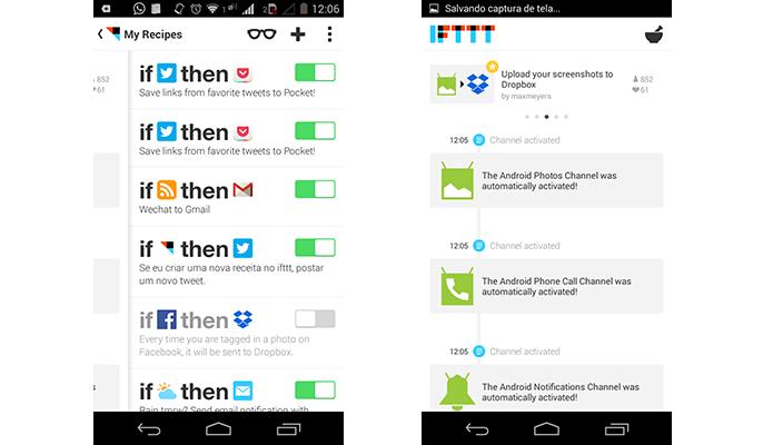 IFTTT chega ao Android a partir do 4.0 e traz 6 receitas exclusivas (Foto: Reprodução/Paulo Alves)