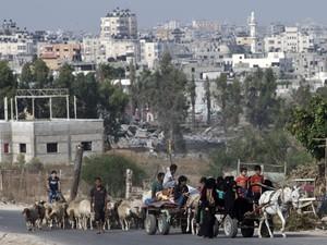 Palestinos voltam para casa na Faixa de Gaza após trégua humanitária de 72 horas entrar em vigor nesta terça-feira (5) (Foto: Mahmud Hams/AFP)