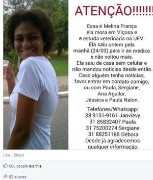 desaparecida Viçosa (Foto: Reprodução/Facebook)