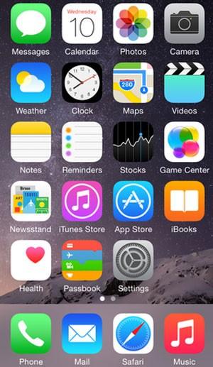 Tela inicial do iPhone rodando iOS 8 (Foto: Divulgação/Apple)