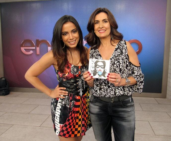 Fátima e Anitta no 'Encontro' (Foto: Carolina Morgado/Gshow)