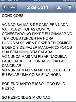 Mensagem enviada por Higor para a estudante (Foto: Divulgação/ Deic)