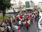 Manifestantes protestam em Cuiabá contra Temer e PPPs na educação
