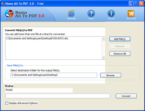 Interface do Nemo All to PDF