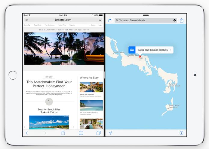 Apps podem rodar lado a lado no iPad Air 2 (Foto: Reprodução/Helito Bijora)