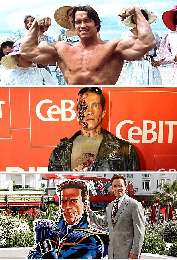 montagem arnold schwarzenegger atleta ator político (Foto: Editoria de Arte / Globoesporte.com)